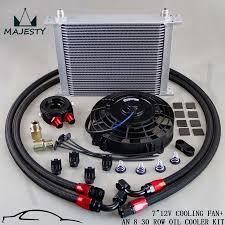 oil cooler fan kit universal 30 row engine transmission 8an oil cooler kit 7 electric