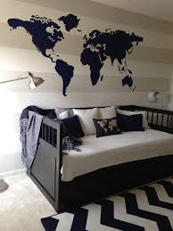 Ikea World Map Canvas by Navy Blue World Theme Toddler Room Gray And White Stripe Bedroom