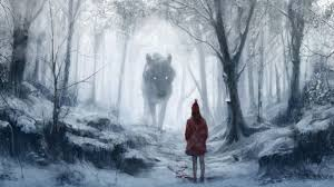 red riding hood drawing wolf giant trees forest hd