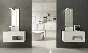 Floating Sink Shelf by Floating White Wooden Vanity With Shelf And Sink And High Mirror