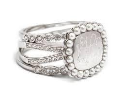 monogramed rings pearl monogram ring etsy