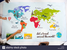 Ocean Map World by Map Showing World Continents Countries Ocean Geography Stock Photo