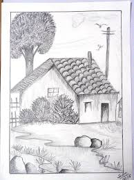 drawn landscape pencil shading pencil and in color drawn