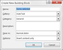create a building building blocks autotext