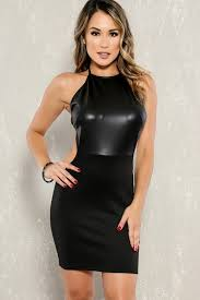 leather dress black faux leather paneled mock neck sleeveless bodycon party dress