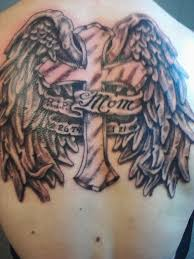 nice angel wings with cross remembrance mom banner tattoo