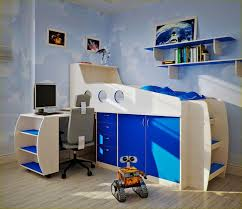 Blue Computer Desk Funiture Kids Twin Room Furniture Ideas In Blue And Orange Using