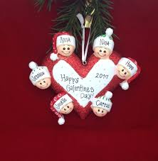 6 happy faces around a heart personalized christmas ornament for