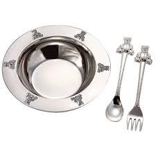 silver plated baby gifts 1 x silverplated baby bowl spoon fork set by
