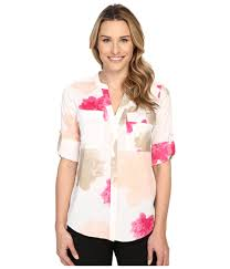 calvin klein blouses lyst calvin klein printed roll sleeve blouse in pink