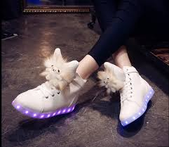 light shoes for women womens led light up shoes high tops white with cute cat tongue sale