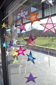 Kids Stained Glass Craft - diy art activity stained glass hanging stars paper stars