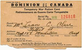 temporary ration card wartime canada