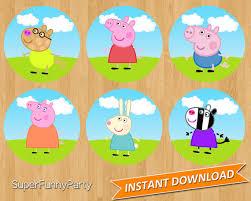 peppa pig cupcake toppers instant download digital file
