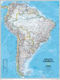 political south america wall map large size central and