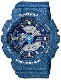 light blue g shock watch casio baby g blue denim pattern limited edition watch ba110dc 2a2 ba