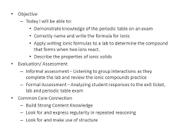 Ions Periodic Table Periodic Table Exam Stem Fair Rubric Ionic Compounds Lab Ppt