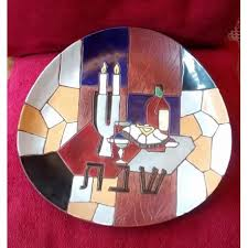 shabbat plate keramos shabbat plate צלחת קרמוס dov judaica