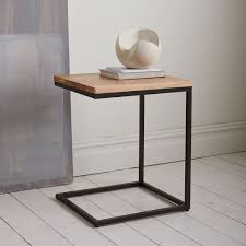 c sofa table box frame c base side table rustic mango antique bronze west elm