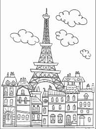 paris buildings and eiffel tower coloring pages printable