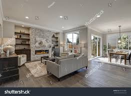 living room interior gray brown colors stock photo 557515885