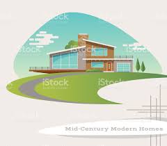 mid century modern house mid century modern style house retro vector illustration stock