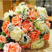 wedding flowers gift wedding bouquet artificial orange flowers bridal throw