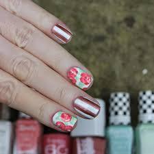 dahlia nails chrome stripes u0026 roses