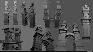 artstation concept wood house tower szabat