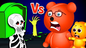 Cartoon Halloween Monsters Mega Gummy Bear Visits Halloween Monsters Grave Yard Finger Family