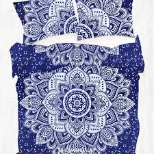 blue silver floral hippie duvet cover set with two pillow cases