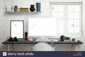 computer display on office desk isolated white screen for mockup