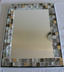 cute glass tile around bathroom mirror with home remodeling ideas