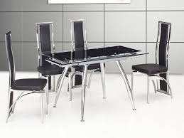 Black Glass Dining Table And 4 Chairs Small Black Dining Table Dining Room Sustainablepals Black