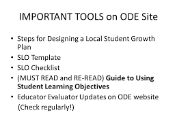 student learning objectives slos student growth measures and otes