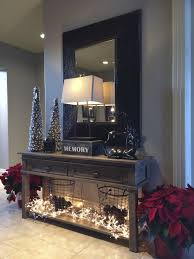 Entryway Table With Baskets Entry Hallway Decor Idea Poinsettias Lights Wire