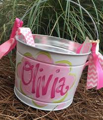 painted easter buckets items similar to easter personalized painted tin