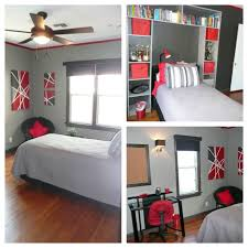 red black and grey teen bedroom trim and accent wall behr dark