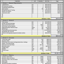 construction estimate spreadsheet template free and blank