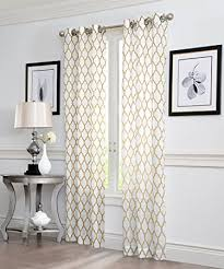 Kitchen Window Curtain Panels by Amazon Com 2 Piece Geo Flocked Sheer Grommet Window Curtain