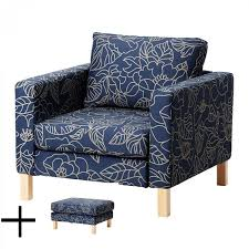 Slipcover Chair And Ottoman Ikea Karlstad Bladaker Blue Armchair And Footstool Slipcover Chair