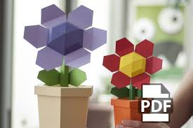 pot flower diy papercraft kit instant download