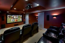 Basement Media Room Basement Theater Design Ideas Home Theater Contemporary With Red