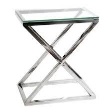 bout de canap en verre bout de canapé avec structure en acier inoxydable poli et plateau en