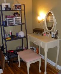 furniture ladder shelf design next to small white corner makeup