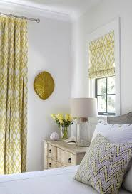 White And Yellow Curtains Yellow Curtains Transitional Bedroom Tracery Interiors