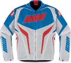 blue motorcycle jacket icon hooligan street jersey mesh motorcycle jacket red white