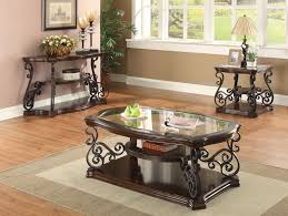 Glass And Metal Sofa Table 328 10 Dark Brown Sofa Table With Ornate Metal Scrollwork