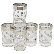 Unique Barware Set Of Six Dorothy Thorpe Barware Glasses With Polka Dot Design