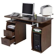 bureau informatique fermé table bureau pour ordinateur pc avec tablette imprimante meuble fixe